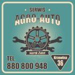 Projekt tablicy reklamowej serwisu samochodowego Agro-Auto Serwis w stylu vintage nawiązującym do Ameryki lat 50-tych.
