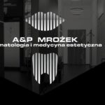Koncepcja graficzna dla materiałów dekoracyjnych i reklamowych gabinetu stomatologicznego i medycyny estetycznej A&P Mrożek. Nowoczesny, minimalistyczny styl.