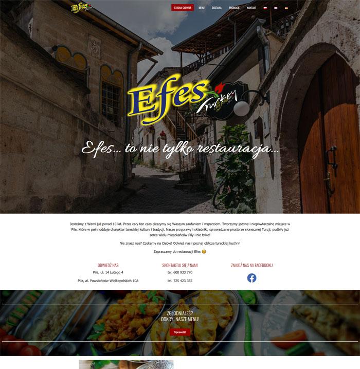 Nowoczesna strona www restauracji Efes Piła o ciekawym projekcie.