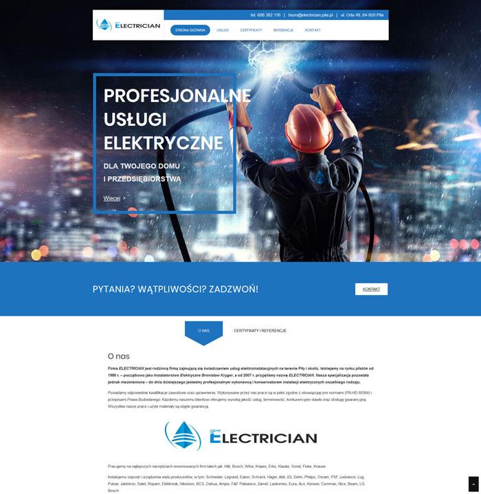 Responsywna strona internetowa firmy elektrycznej Electrician w nowoczesnej technologii i atrakcyjnym projekcie.