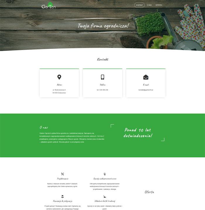 Strona www firmy ogrodniczej Garten w nowoczesnym designie.