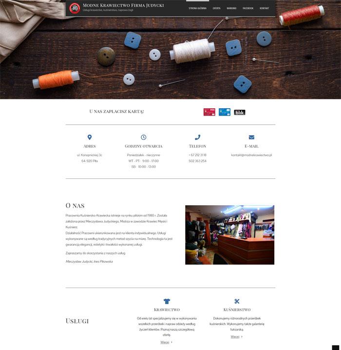 Nowoczesna strona www firmy krawieckiej Modne Krawiectwo Firma Judycki o ciekawym projekcie.