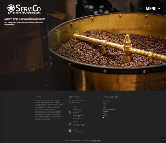 Strona www firmy serwisującej maszyny ServiCo Microsystems o nietypowym, ciekawym i atrakcyjnym designie.