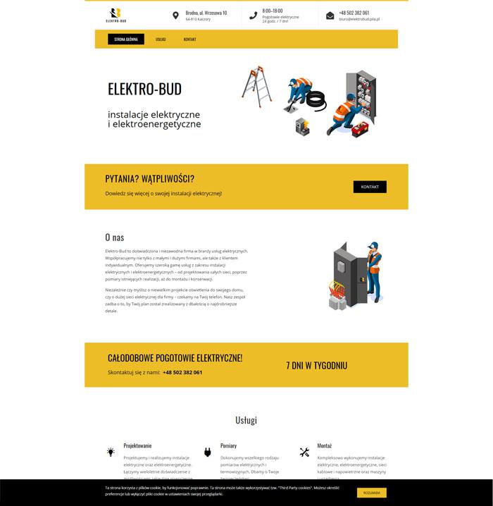Serwis internetowy firmy elektrycznej Elektrobud w ciekawym, nowoczesnym stylu.