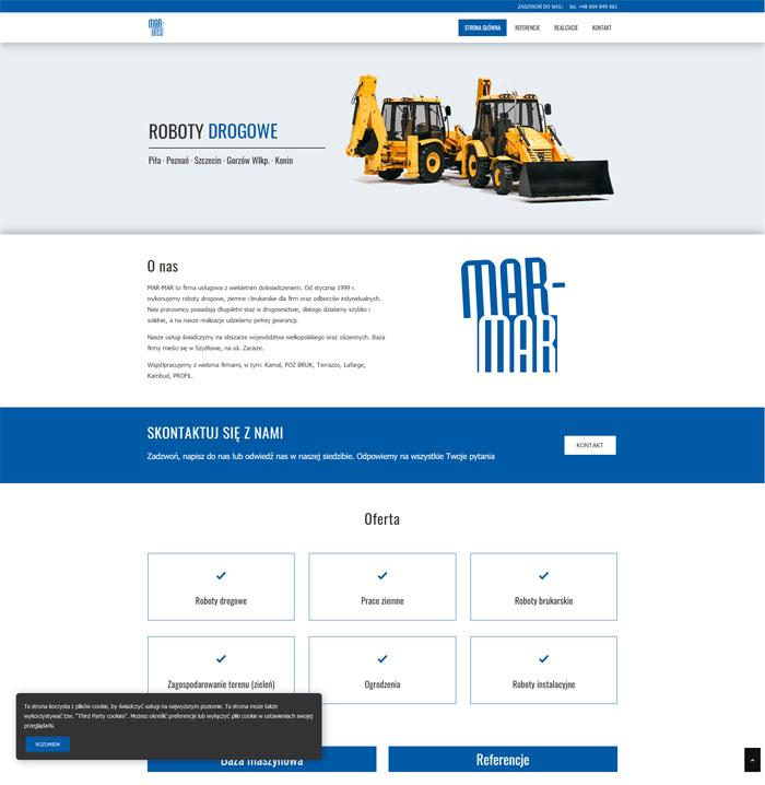Nowoczesna strona internetowa firmy budowlanej Mar-Mar o nowoczesnym, minimalistycznym projekcie.