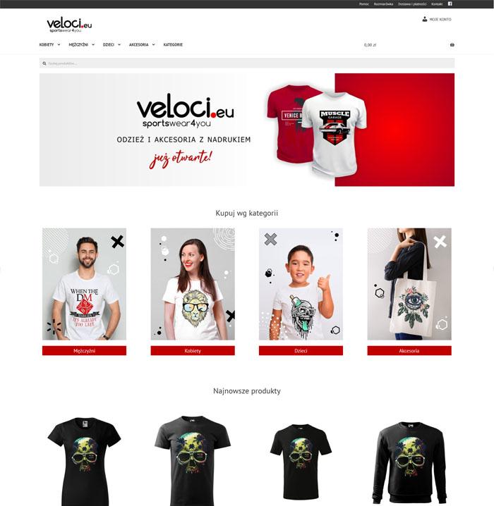 Strona sklepu internetowego z odzieżą Veloci.eu w czarno-czerwono-białej kolorystyce i responsywnym designie.